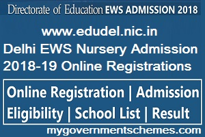 Delhi EWS Nursery Admission 2018-19 Online Registrations