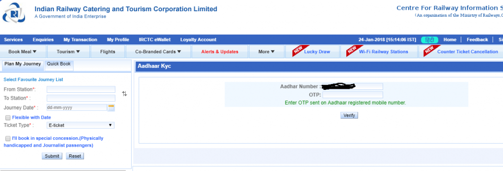 IRCTC Registered Aadhaar Card