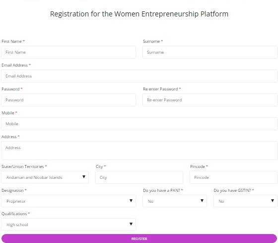 Women Entrepreneurship Platform Registration Form