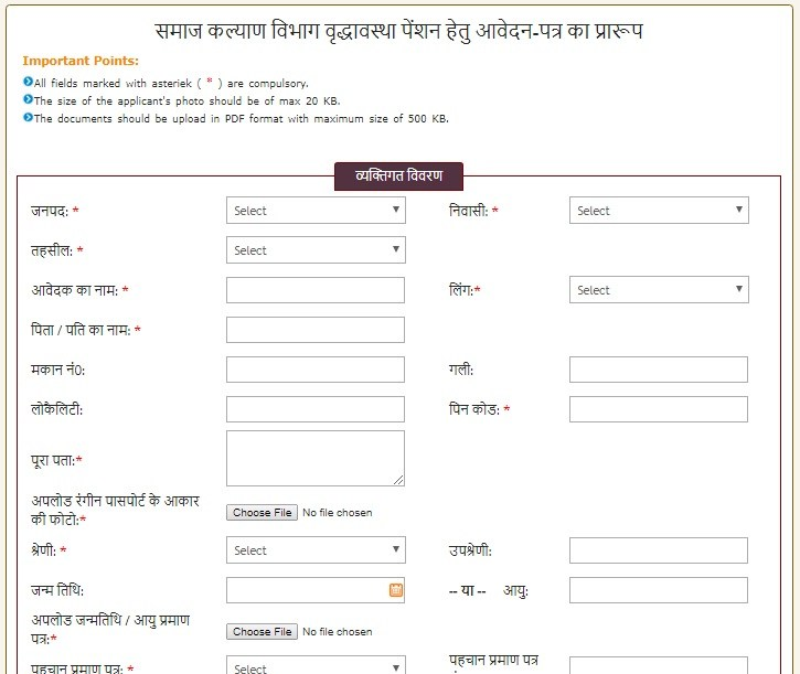 Indira Gandhi National Old Age Pension Scheme Form