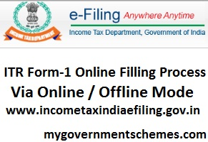 ITR Form-1 Online Filling Process